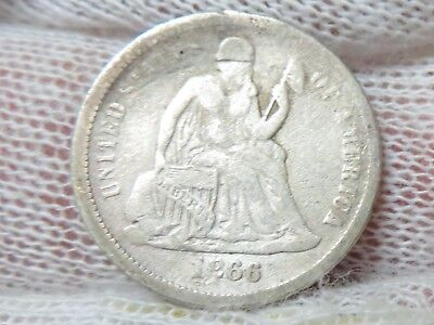 1866  Silver Seated Liberty Dime and free shipping