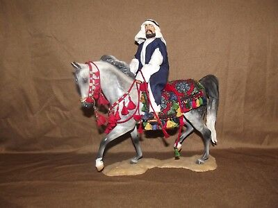 Artist Resin Arabian model horse with rider and native costume