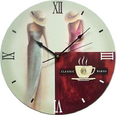Wall Clock Duve 141310-C Wood Round Inches 13.77 Quartz Old England Cafe'