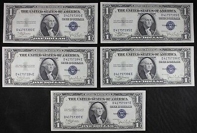 Five consecutive $1 1935C UNC silver certificates one dollar, series C FREE SHIP