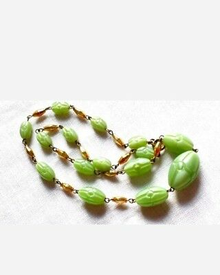 Unique! Vintage Czech Art Deco Glass Carved Green Gilded Gold Bead Necklace.