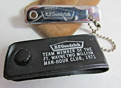 1971 B.F. Goodrich Fort Wayne advertising nail care knife keychain with cover