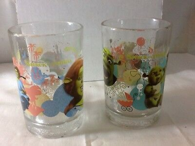 Set Of 2 SHREK THE THIRD COLLECTIBLE MCDONALD 2007 GLASSES Very Nice Pre-owned
