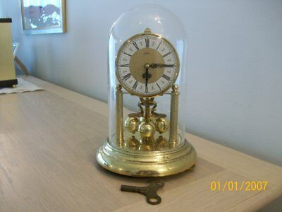 A Vintage German  Anniversary  Clock  By  Kern With Dome In Working Order