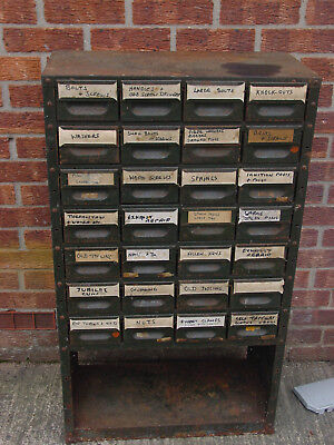 Vintage Industrial Green Metal Index Cabinet / Drawers / Tool Cabinet 28 Draws