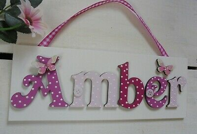 Butterfly Wooden Child Name Door Sign Plaque MAXIMUM 7 letters(white plaque)