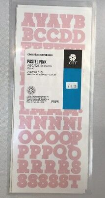 NEW in Pkg Creative Memories Pastel Pink Decorative ABC/123 Stickers-3 sheets