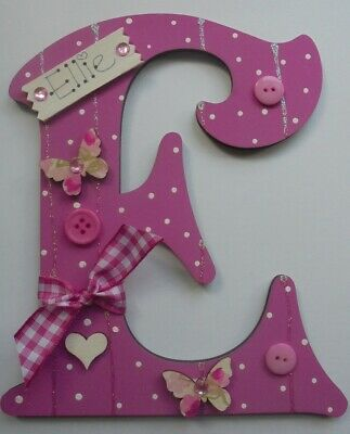 Childrens door sign Plaque Kids Any letter & Name Available Initial Butterfly