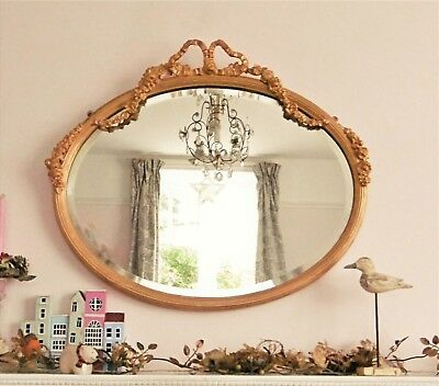 SUPERB ANTIQUE 19thC GILTWOOD FLORAL RIBBON CREST OVAL BEVELLED WALL MIRROR