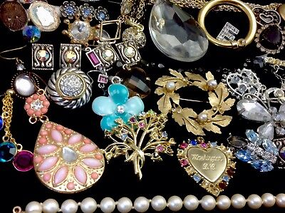 Large Lot Of Vintage~Now Rhinestone, Crystal.. Jewelry For Repair, Parts (E319)