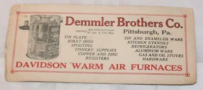 Vintage Demmler Brothers Ink Blotter Advertising Furnaces Davidson Warm Air 20's