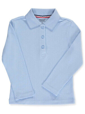 French Toast Little Girls' Toddler L/S Fitted Knit Polo With Picot Collar