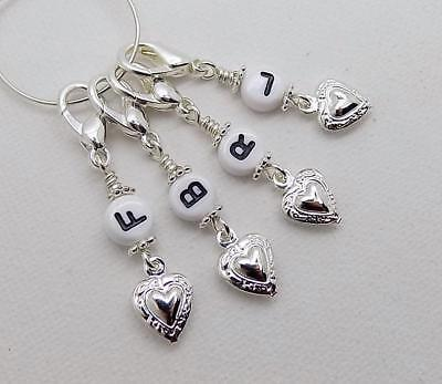 **£1 oFF!*** FRONT BACK LEFT & RIGHT Knitting Stitch Markers with Hearts - CLAWS