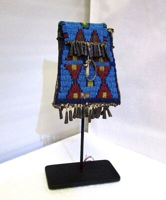 Antique Sioux Beaded Strike-a-lite Pouch,Tag Bag  circa 1870s Museum Lot