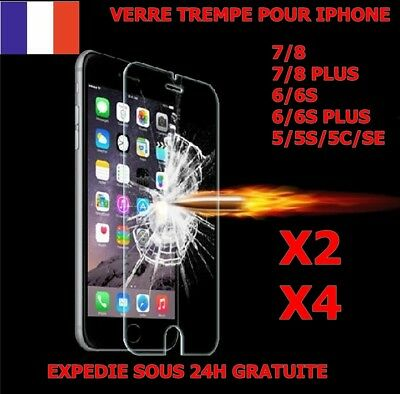 Lot Vitre Film Protection Verre Trempe Iphone 8/7/6/5 Plus 5S/se/5C Ecran