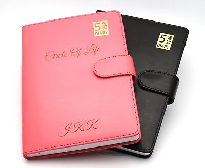 Personalised Premium 5 Year Diary Organiser A5 Faux Leather Custom Bespoke Gift