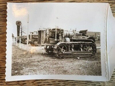Vintage Caterpillar Sixty Tractor Photograph on Dealer Lot w/ CAT Sign 1960s