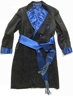 rare vintage 1930s A Sulka robe silk damask France black blue dressing gown