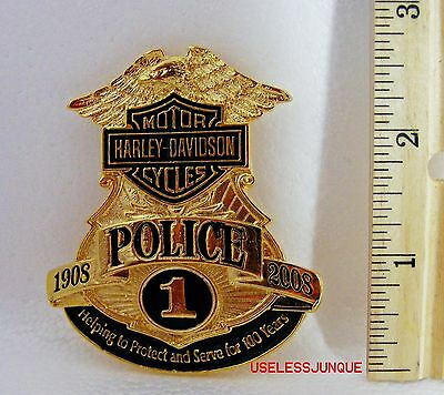 Harley-Davidson Motorcycle #1 Gold Plated Police Badge Full Size Style A