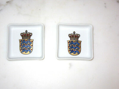 B&G Bing & Grondahl 2 Small Square White Dishes with Denmark Coat of Arms