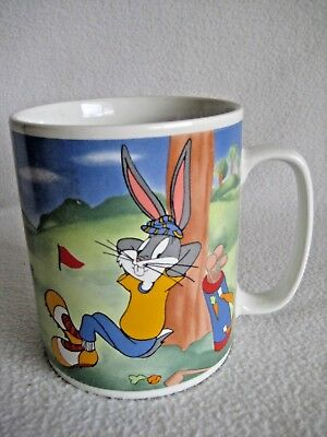 Warner Bros 1994 Bugs Bunny Daffy Duck Playing Golf 32 oz  Large Coffee Mug Cup