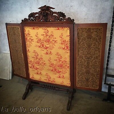STUNNING VICTORIAN HAND CARVED 3 PANEL TAPESTRY FIRE SCREEN. L@@k!!