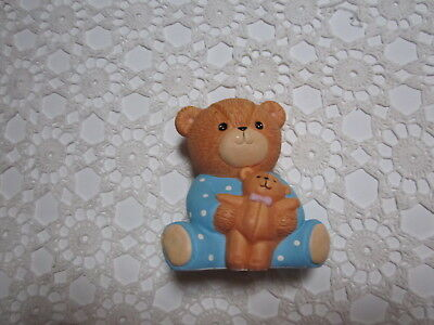 LUCY & ME~Enesco~Large Baby Boy with Teddy Bank~1984~Original Tags~Great Gift!