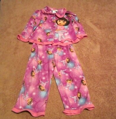 Baby Girls Toddler Dora The Explorer Pink/Purple Flannel Pajama Set Size 4T