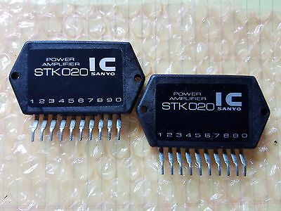 SANYO STK020 Power Amplifier with Heat Sink Compound. One Pair (2 PCs.) STK-020