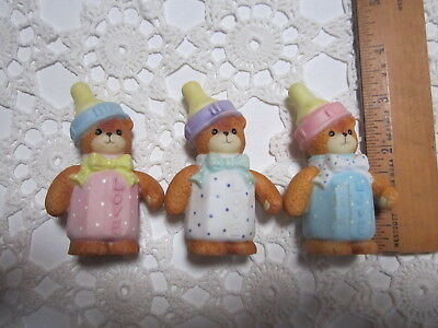 LUCY & ME~Enesco~THREE BEARS~BABY BOTTLES~1993~Collector or Cake Toppers!