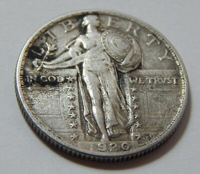 1920  Silver US Standing Liberty 25¢ Quarter Coin - XF Detail damage
