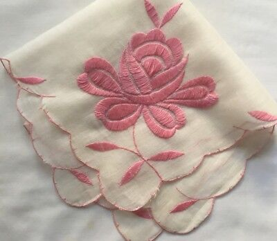 """Antique White/Pink Hand Embroidery Scalloped Edges Handkerchief  AS IS 11 1/4""""SQ"""
