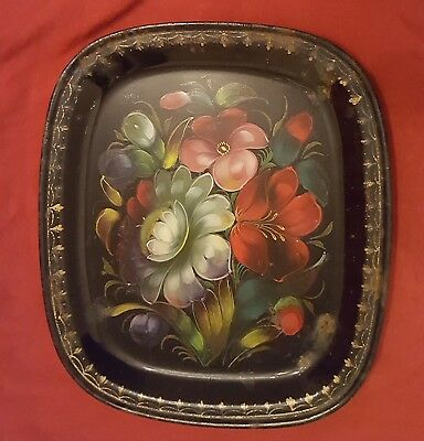 Vintage Russian Folk Art Hand Painted Floral Flower Tole Tray USSR