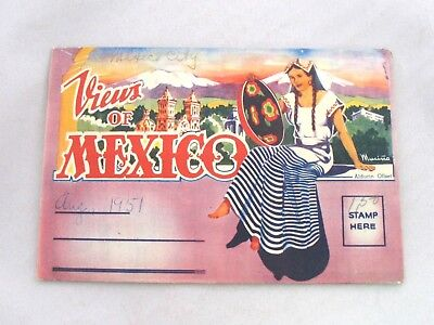 Vintage 1950s Views Of Mexico Souvenir Fold-out Postcard 16 Color Images
