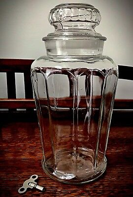 """Rare Antique Large Glass Apothecary Candy Jar - Height 12 1/2"""""""