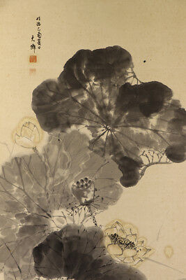 "JAPANESE HANGING SCROLL ART Painting ""Lotus"" Asian antique  #E9832"
