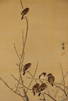 "JAPANESE HANGING SCROLL ART Painting ""Sparrows"" Asian antique  #E9838"