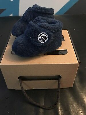 Baby Ugg Slippers Blue Bixbee Terry Cloth Pram Shoes Genuine size 0/1 0-6 Months