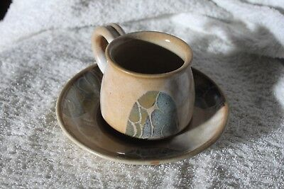 studio pottery,crich diana worthy cup and saucer,,s,signed