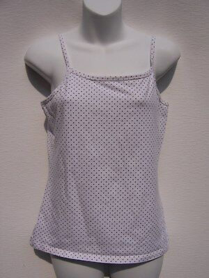 Fashion Bug Women's White with Green Polka Dot Camisole Size M