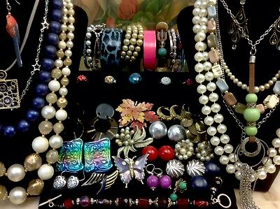 Large Lot Of Vintage~Now Costume Jewelry Earrings, Necklaces, Bracelets (E103)