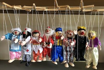 String Wooden Puppet Marionette Pack of 8