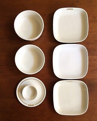 Vintage USAir Airlines (now United) Lot of 7 First Class Ceramic Dishes