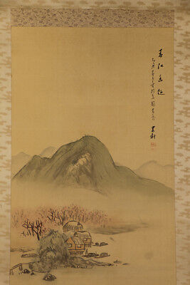 JAPANESE HANGING SCROLL ART Painting Scenery Asian antique  #E9871