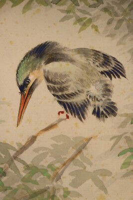 "JAPANESE HANGING SCROLL ART Painting ""Kingfisher and Fish"" Asian antique  #E9865"