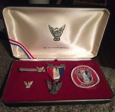 Vintage Boy Scouts of America BSA Sterling Eagle Scout Medal Tie Bar,Pin & Patch
