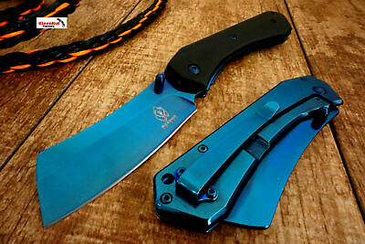 "8"" Titanium Blue TACTICAL Spring Assisted Open Pocket Knife CLEAVER RAZOR Wood"