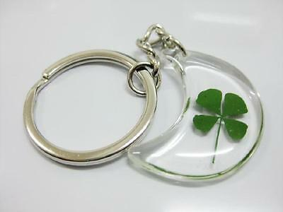 cool jewelry real  green four leaf clover moon design key-chains m3