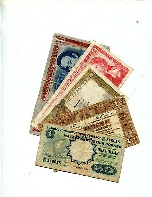 Malaya British Borneo Plus 4 Other Diff Foreign Banknotes Vg Or Better 3.95