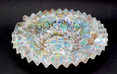 Opaque Enameled Beaded Brides Basket Ruffled Edge Victorian Antique Glass Art